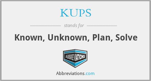 KUPS - Known, Unknown, Plan, Solve