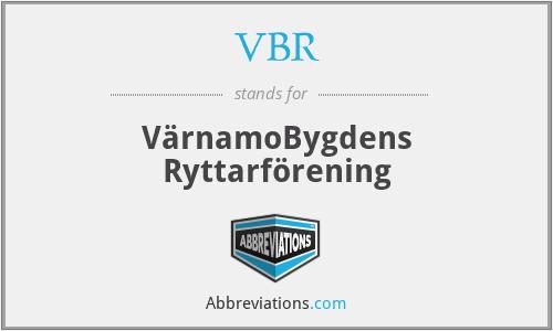 VBR - VärnamoBygdens Ryttarförening