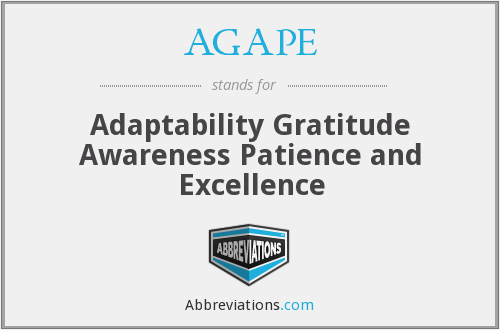 AGAPE - Adaptability Gratitude Awareness Patience and Excellence