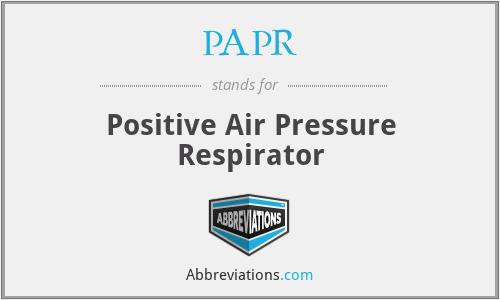 PAPR - Positive Air Pressure Respirator
