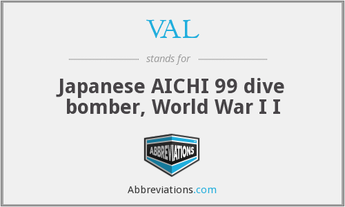 VAL - Japanese AICHI 99 dive bomber, World War I I