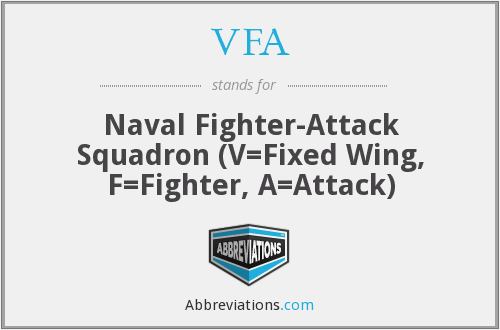 VFA - Naval Fighter-Attack Squadron (V=Fixed Wing, F=Fighter, A=Attack)