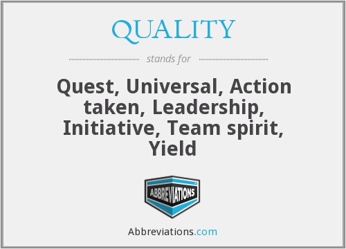 QUALITY - Quest, Universal, Action taken, Leadership, Initiative, Team spirit, Yield
