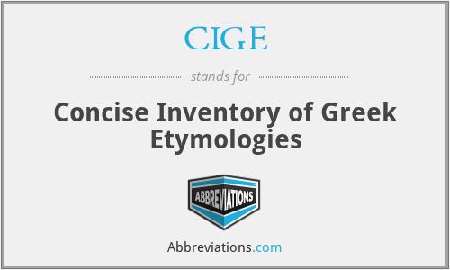 CIGE - Concise Inventory of Greek Etymologies