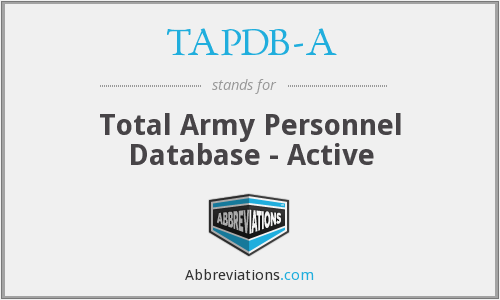 TAPDB-A - Total Army Personnel Database - Active