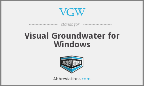 VGW - Visual Groundwater for Windows