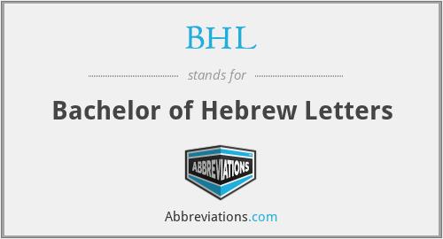 BHL - Bachelor of Hebrew Letters