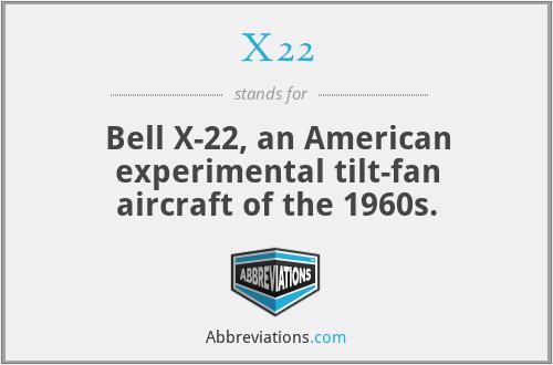 X22 - Bell X-22, an American experimental tilt-fan aircraft of the 1960s.