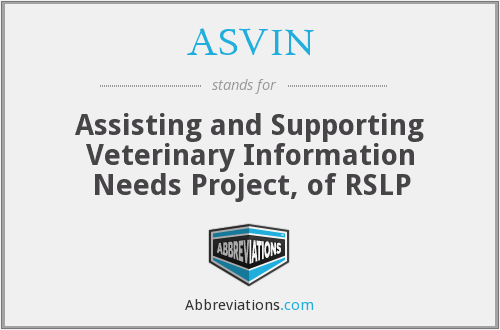 ASVIN - Assisting and Supporting Veterinary Information Needs Project, of RSLP