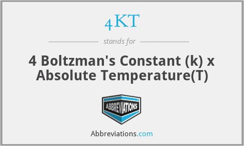 4KT - 4 Boltzman's Constant (k) x Absolute Temperature(T)