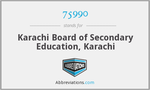 75990 - Karachi Board of Secondary Education, Karachi