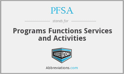 PFSA - Programs Functions Services and Activities