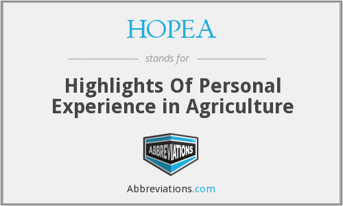 What does HOPEA stand for?