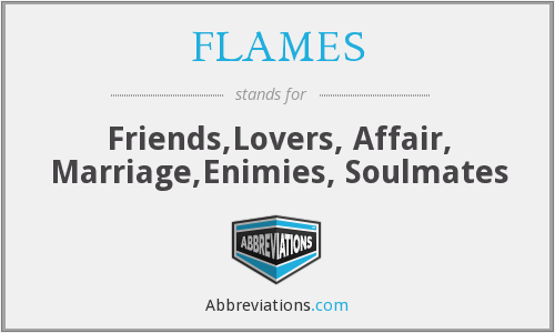 FLAMES - Friends,Lovers, Affair, Marriage,Enimies, Soulmates