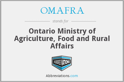 OMAFRA - Ontario Ministry of Agriculture, Food and Rural Affairs