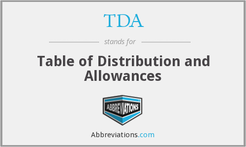 TDA - Table of Distribution and Allowances