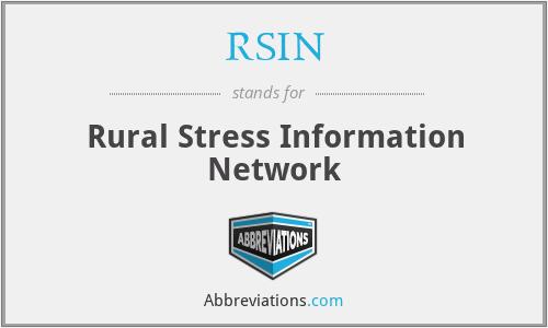RSIN - Rural Stress Information Network