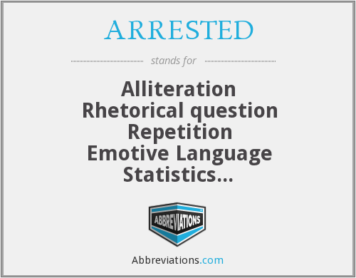 ARRESTED - Alliteration Rhetorical question Repetition Emotive Language Statistics Tripling Exaggeration Direct address