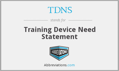TDNS - Training Device Need Statement
