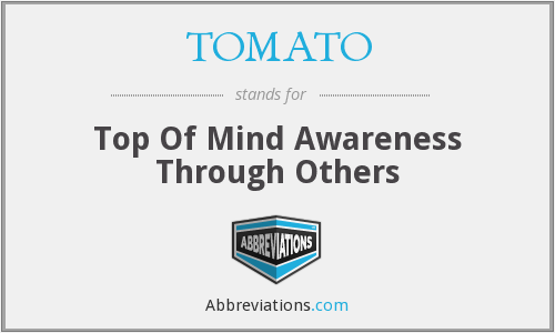 TOMATO - Top Of Mind Awareness Through Others