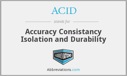 ACID - Accuracy Consistancy Isolation and Durability