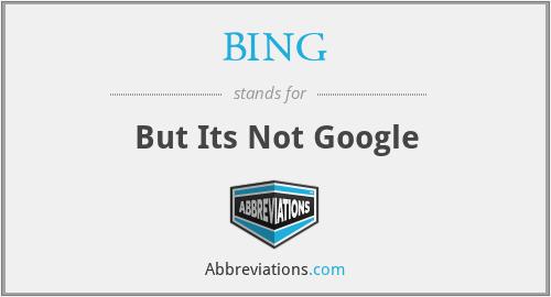 BING - But Its Not Google