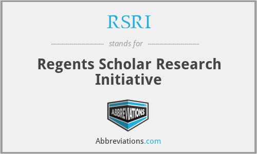 RSRI - Regents Scholar Research Initiative