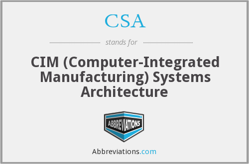 CSA - CIM (Computer-Integrated Manufacturing) Systems Architecture