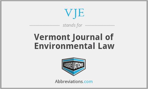 VJE - Vermont Journal of Environmental Law