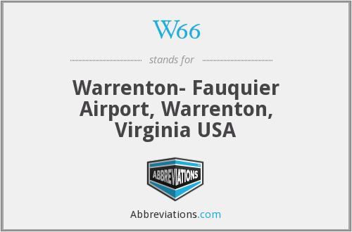 W66 - Warrenton- Fauquier Airport, Warrenton, Virginia USA