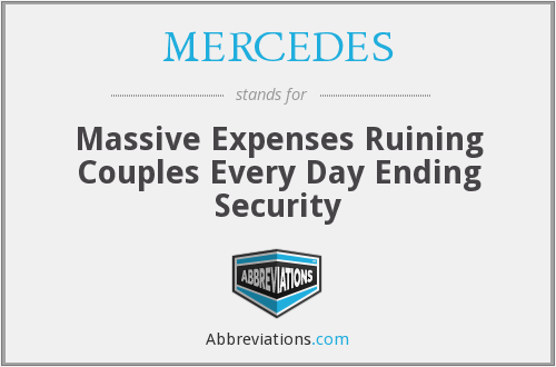 MERCEDES - Massive Expenses Ruining Couples Every Day Ending Security