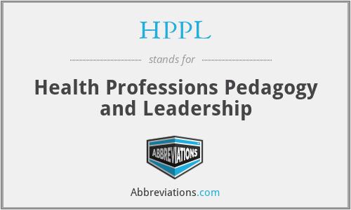 HPPL - Health Professions Pedagogy and Leadership