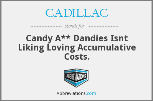 CADILLAC - Candy A** Dandies Isnt Liking Loving Accumulative Costs.