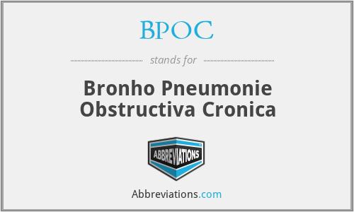 BPOC - Bronho Pneumonie Obstructiva Cronica