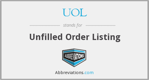 UOL - Unfilled Order Listing