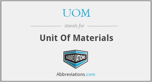 UOM - Unit Of Materials