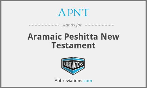 APNT - Aramaic Peshitta New Testament