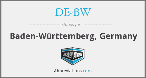 What does DE-BW stand for?