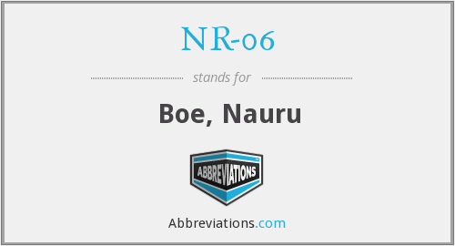 What does NR-06 stand for?