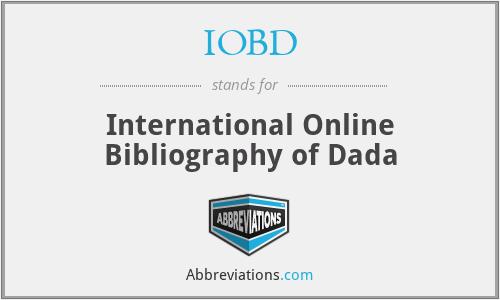 IOBD - International Online Bibliography of Dada