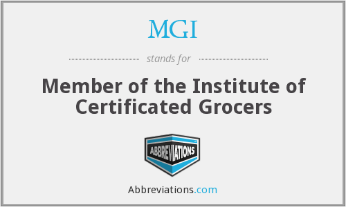 MGI - Member of the Institute of Certificated Grocers