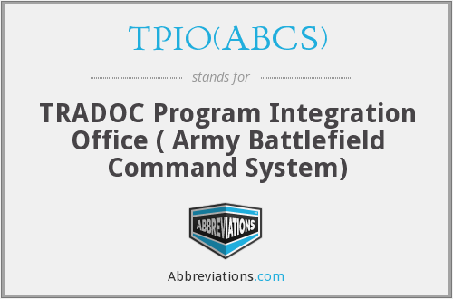 What does TPIO(ABCS) stand for?