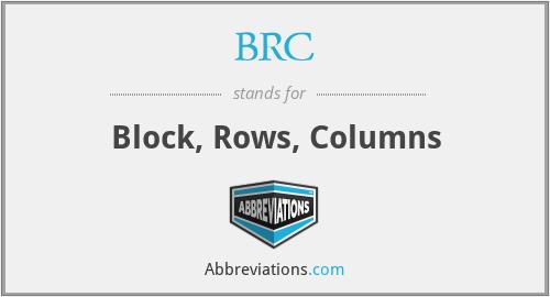 BRC - Block, Rows, Columns