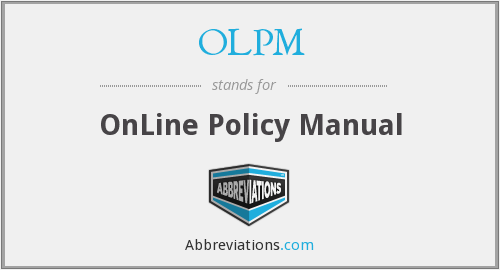 OLPM - OnLine Policy Manual