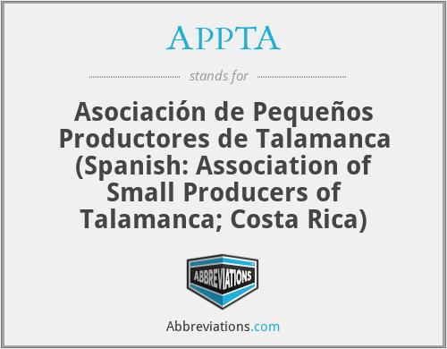 APPTA - Asociación de Pequeños Productores de Talamanca (Spanish: Association of Small Producers of Talamanca; Costa Rica)