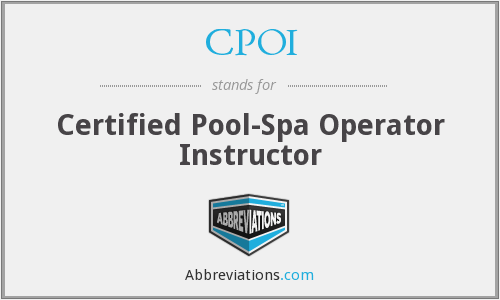 CPOI - Certified Pool-Spa Operator Instructor