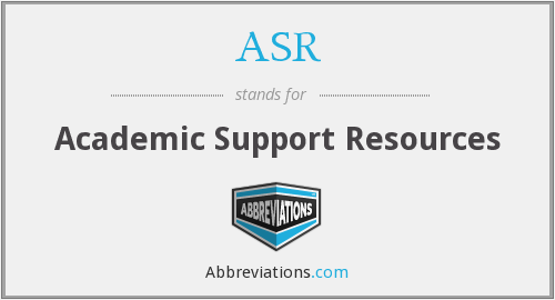 ASR - Academic Support Resources