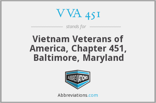VVA 451 - Vietnam Veterans of America, Chapter 451, Baltimore, Maryland