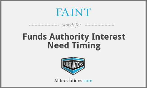 FAINT - Funds Authority Interest Need Timing