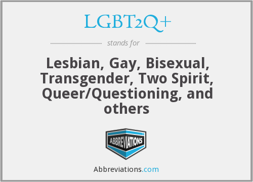 LGBT2Q+ - Lesbian, Gay, Bisexual, Transgender, Two Spirit, Queer/Questioning, and others